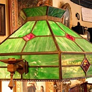 Arts and Crafts Leaded and Stained Glass Chandelier