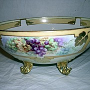 Hand-painted Porcelain Limoge Punch Bowl by Tressemann & Vogt, Mark 7( 1892-1907 )