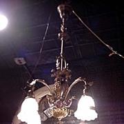 Ornate Cast Brass Four Arm Chandelier