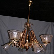 Superb Eastlake/Aesthetic Movement Eight Arm Chandelier