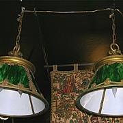 Pair Arts & Crafts Hanging Lights Green Slag Glass