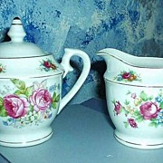 Tea  Roses set of  Creamer and Sugar