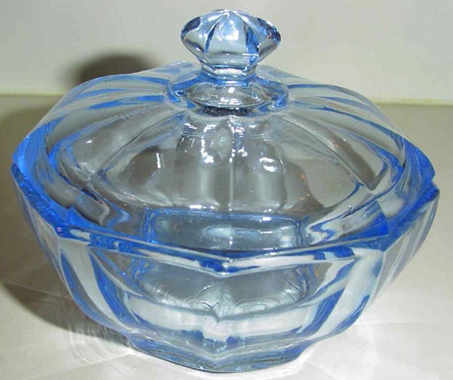 Bagley Powder Blue Glass Dish with Lid