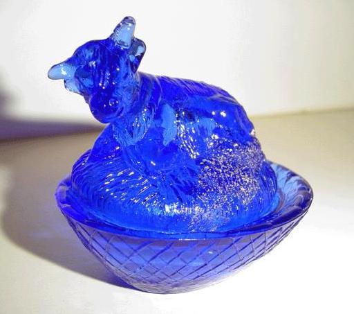 Cobalt Blue Mini Cow on Nest Box
