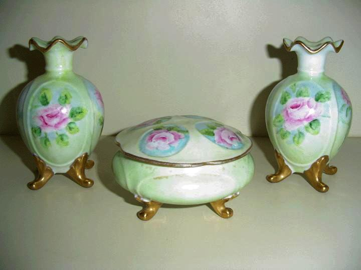 Stunning Rose Porcelain Powder Box and Twin Vases  *  1950's