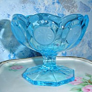 Blue Fostoria Coin Candy Dish