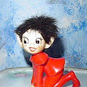 Unusual Red  Pixie Elf with Head of Hair!