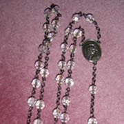 "Unique 24"" Crystal Rosary Sterling Silver Cross/Medal"