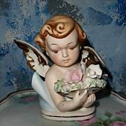 Beautiful  Norcrest Bisque Cherub with Roses