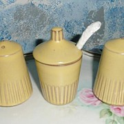 Dutch Pottery Set of Shakers and Mustard Jar with Spoon