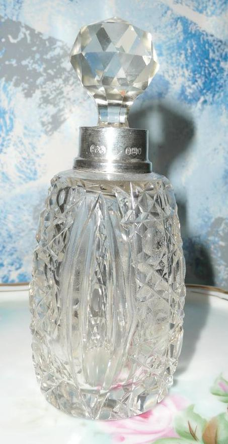 Beautiful Hobnail Cut  Glass English  Sterling  Silver Perfume Bottle