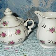 'Selecta' Set of Tea Roses  Sugar Dish  with Lid and Creamer