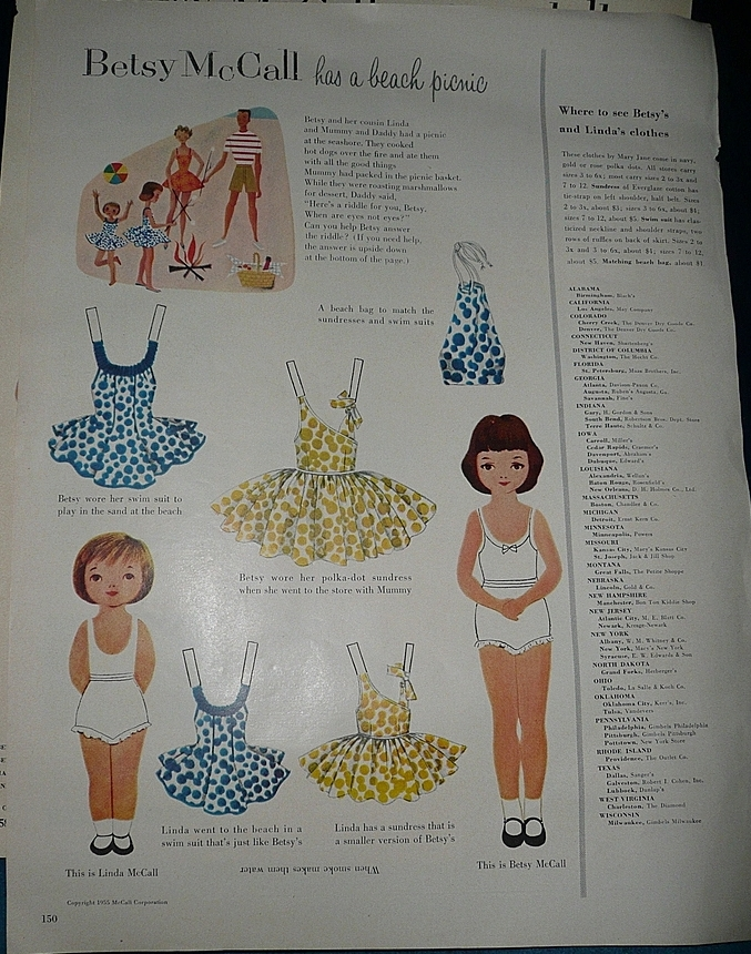 1954 McCall Magazine Betsy McCall & Linda McCall  Paper Dolls