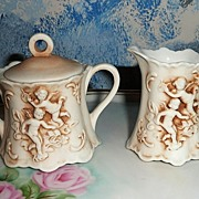 Individual Set of Sugar with Lid and Creamer