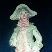 Gorgeous Colors Bisque French  Gentleman Figurine