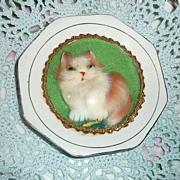Rare Plate with Real Fur Kitten