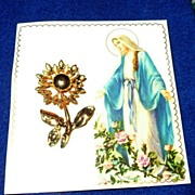 Vintage Miraculous Medal Flower Pin *MINT!