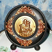 Beautiful 1930's St. Joseph Round Wood Picture *Signed