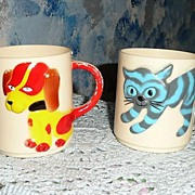 Dog & Tiger 1950's Hard Plastic Baby Cups