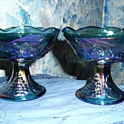 Indiana Glass Harvest  Grape Blue Glass  Candle Holders