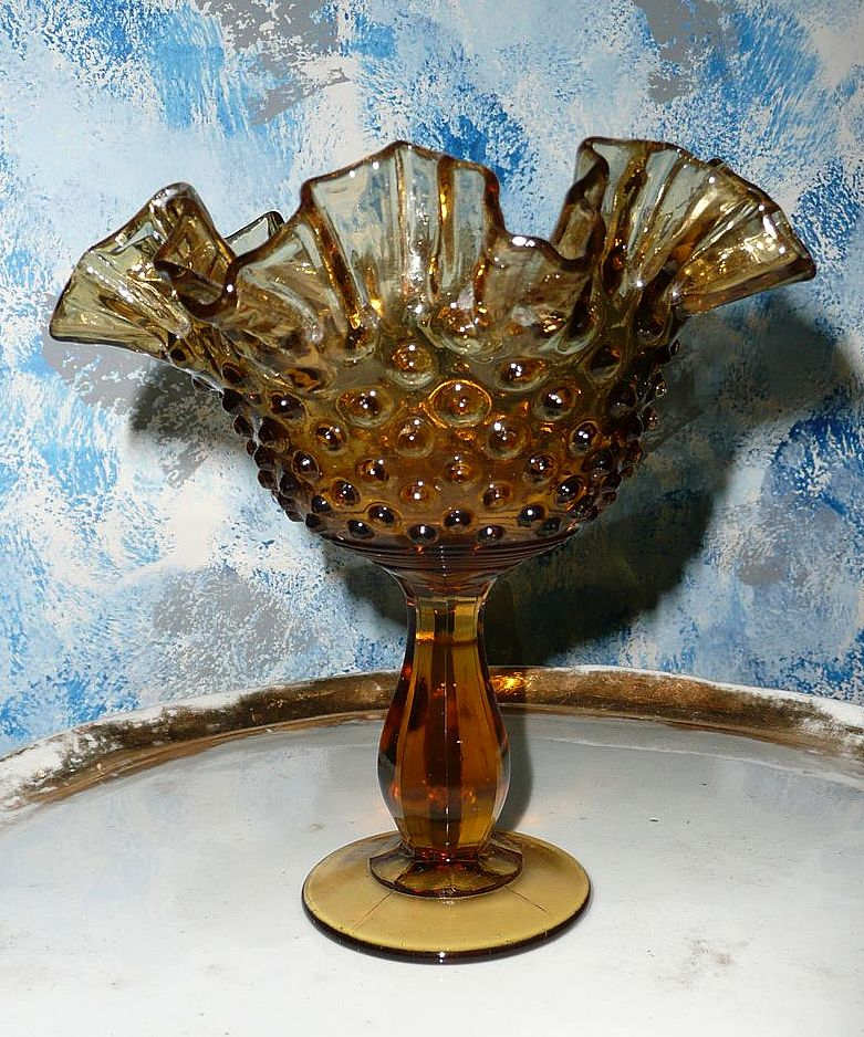 Fenton 1970's  Amber Glass Hobnail Compote Dish
