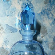 Blue Glass Perfume Bottle with Stopper