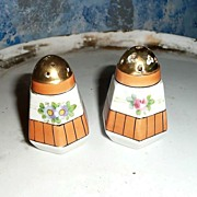 Tangerine with Flowers Salt and Pepper Shakers