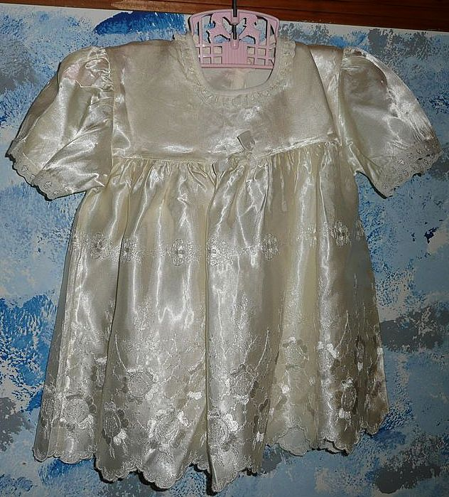 Beautiful Vintage Satin  Dress and Slip  for Composition Mama Doll
