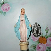 Lot of Vintage of Our Lady of The  Miraculous Medals and Statue