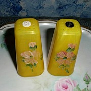 1950's Plastic Yellow Flowers Salt and Pepper Shakers