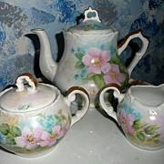 Beautiful Flower Set of Tea Pot Creamer and Sugar