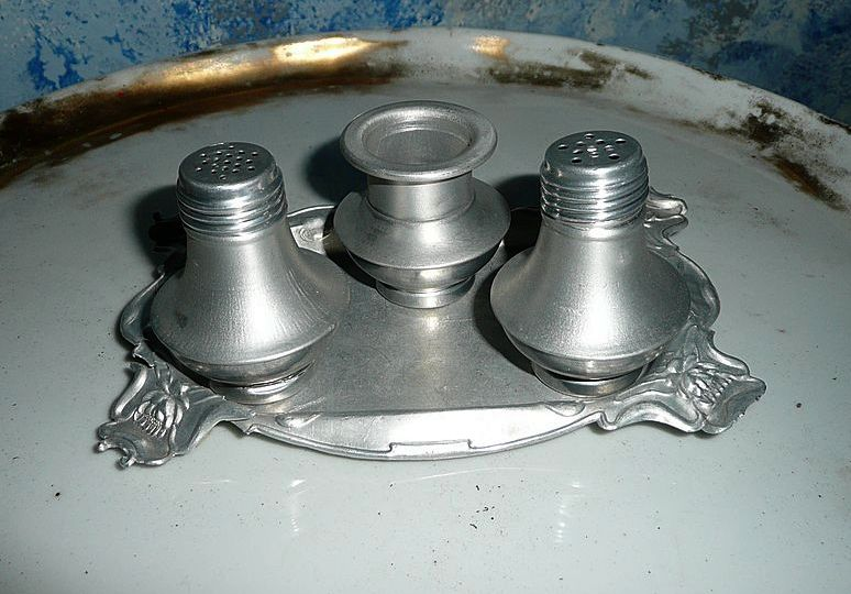 Very old aluminum salt and pepper shakers with tray and toothpick from cixiscollectibles on ruby - Toothpick shaker ...