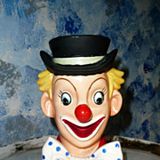 1958 NATIONAL Potteries  Beautiful Clown Head Vase