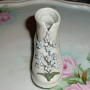 Small Opalescent Porcelain  Boot with Blue Flowers