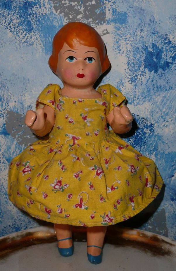 Rare Primitive Composition Doll with Painted  Blue Shoes