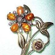 Vintage Large Yellow/Amber  Flower Pin
