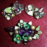 Gorgeous Flowers Pin and Earring Set