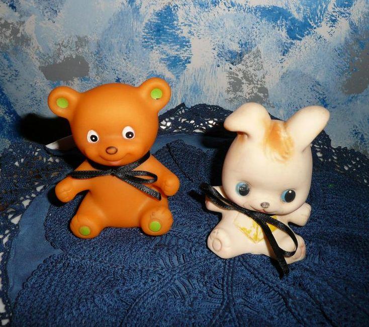 Two Vintage Squeak Rubber Toys