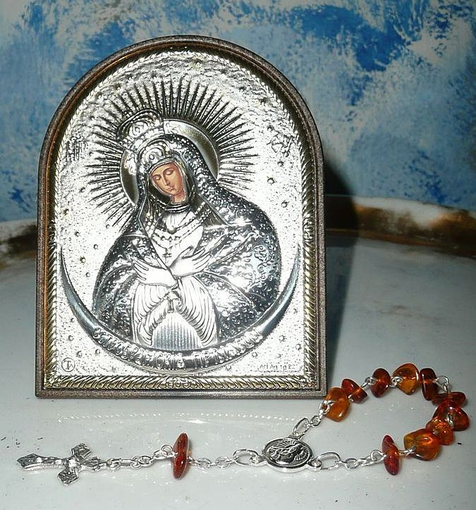 Beautiful Our Lady at The Gates of Dawn, Mother of Mercy Image  Frame and Rosary. Vilnius. Lithuania