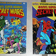 1984 Marvel Super Heroes Lot of two Sticker Adventure Books *MINT!