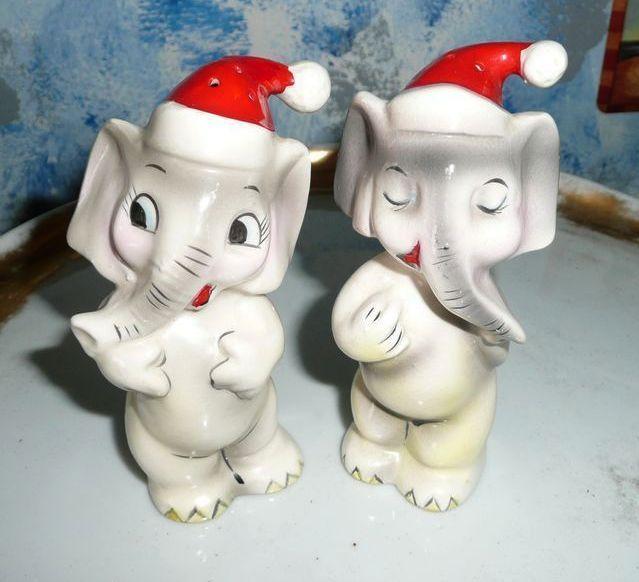 Vintage Funny Set of Christmas Elephant Shakers