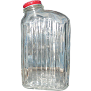 Vintage Clear Glass Water refrigerator bottle with Original Cap