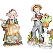 Lefton Pair of Farmer Children  Boy and Girl