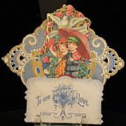 Vintage Valentine, Boy & Girl,  3-D w/Red Honeycomb Tissue