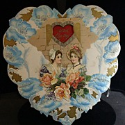 Antique Valentine Die cut Heart/Easel, Blue Poppies, Girls, Roses