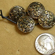 Set of 4 Brass Vintage Buttons in Foliage Motif
