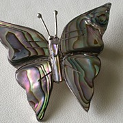 Mexican Sterling & Abalone Butterfly Pin, Hallmarked