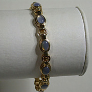 "SALE Vermeil Bracelet w/Faux Moonstones, 7.5"" Length"