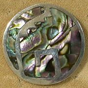 Vintage Taxco, Mexico Sterling and Abalone Inlaid Pin/Pendant