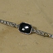 SALE Vintage Sterling, Black Onyx and Marcasite Bar Pin